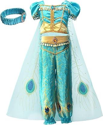 YOSICIL Disfraz de Princesa Jazmín Niña Tops Pantalones Costume ...