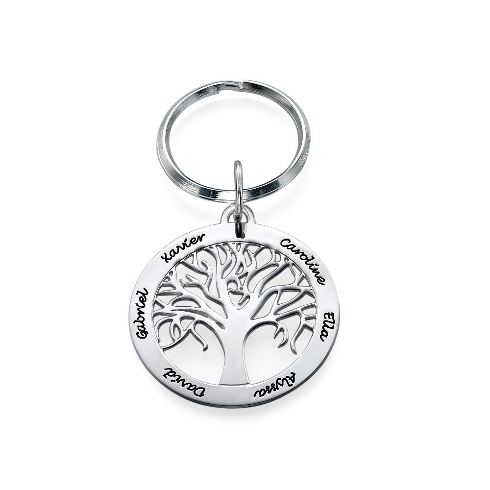 Personalized Family Tree Keychain in Sterling Silver - Custom Made with Any Name