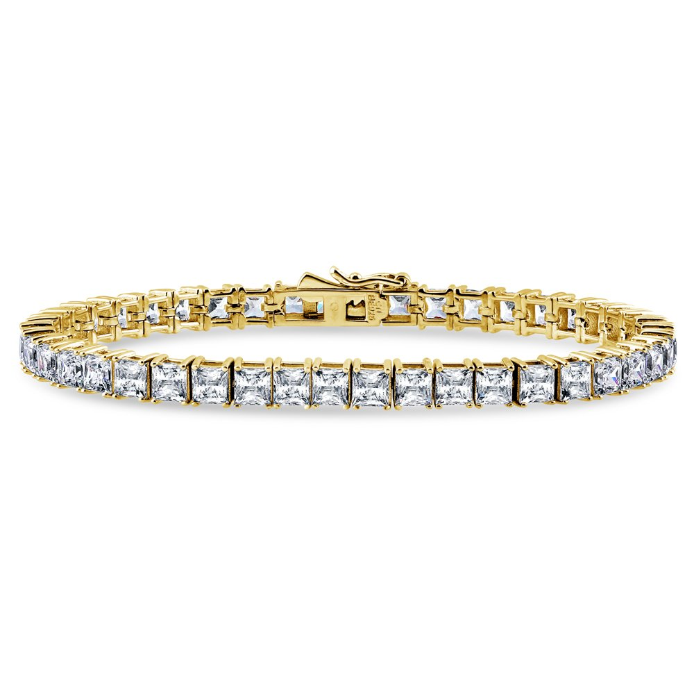 BERRICLE Yellow Gold Flashed Sterling Silver Wedding Tennis Bracelet Made with Swarovski Zirconia Princess Cut 7.5 inch by BERRICLE