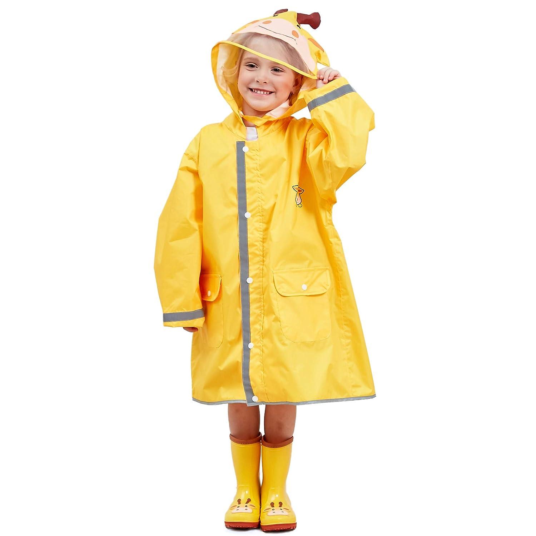 L para 2-10 a/ños Bwiv Poncho Lluvia Ni/ños Impermeable Ni/ñas Capa de Lluvia con Capucha con Seguridad Advertencia Reflectantes para Escuela Viaje 4 Colores Talla S