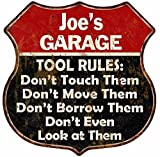 Great American Memories Joe's Garage Tool Rules Red Black Shield Sign Man Cave 12x12 Gift S125853