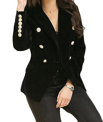 MLG Women s Slim Fit Double Breasted Velvet Office Blazer Coat Jackets Black  US XL 46e7455ef