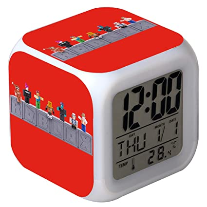 QIANXIAN Roblox Alarm Clock Despertador Retroiluminación Colorido Digital Alarm Clock atenuador Relojes de luz Nocturna Suave niños,003