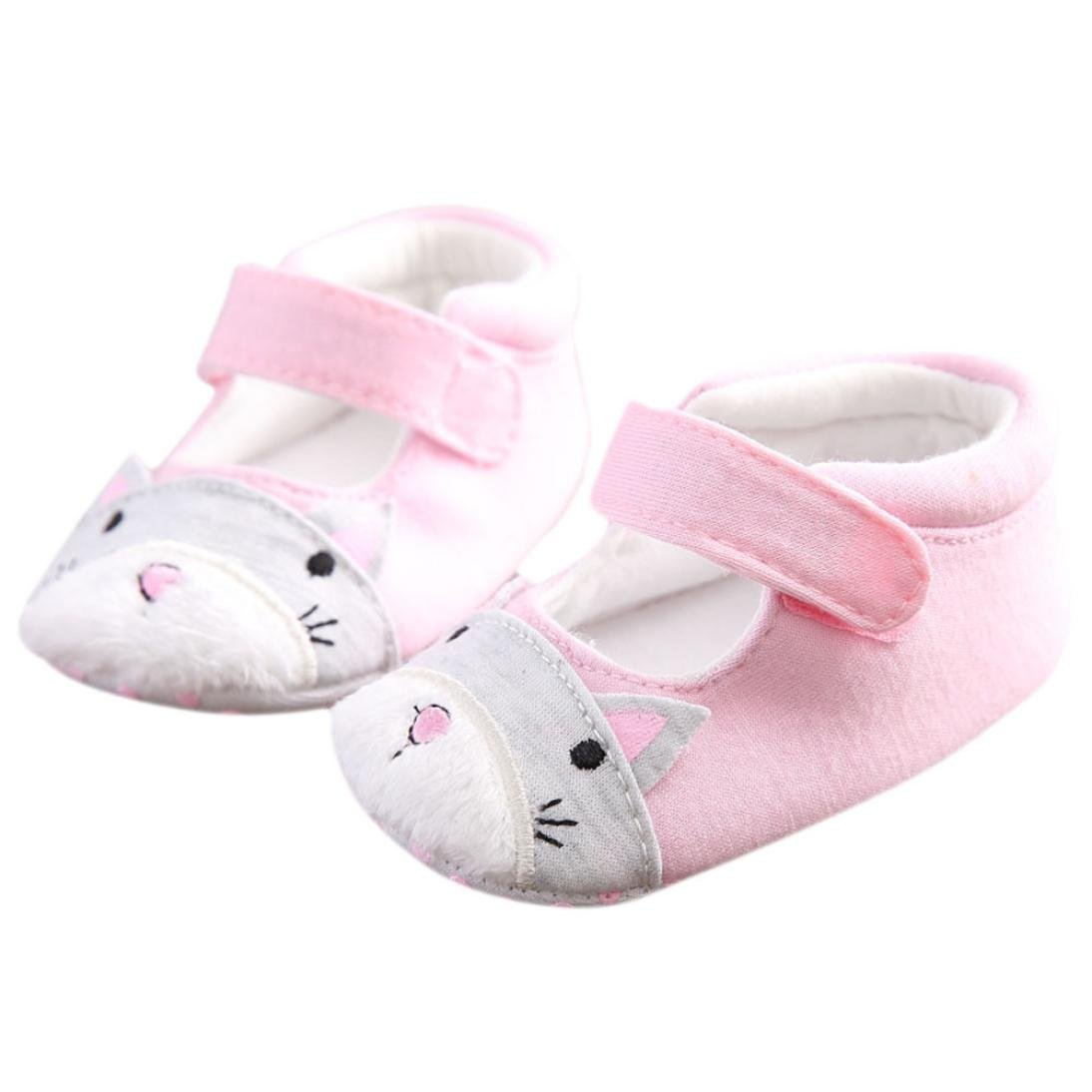 Vovotrade Recién Nacido Bebé Niña Ardilla Linda Diseño Zapatos Zapatilla Antideslizante Suela Blanda Toddler Primer Paso Zapatos Tela de algodón