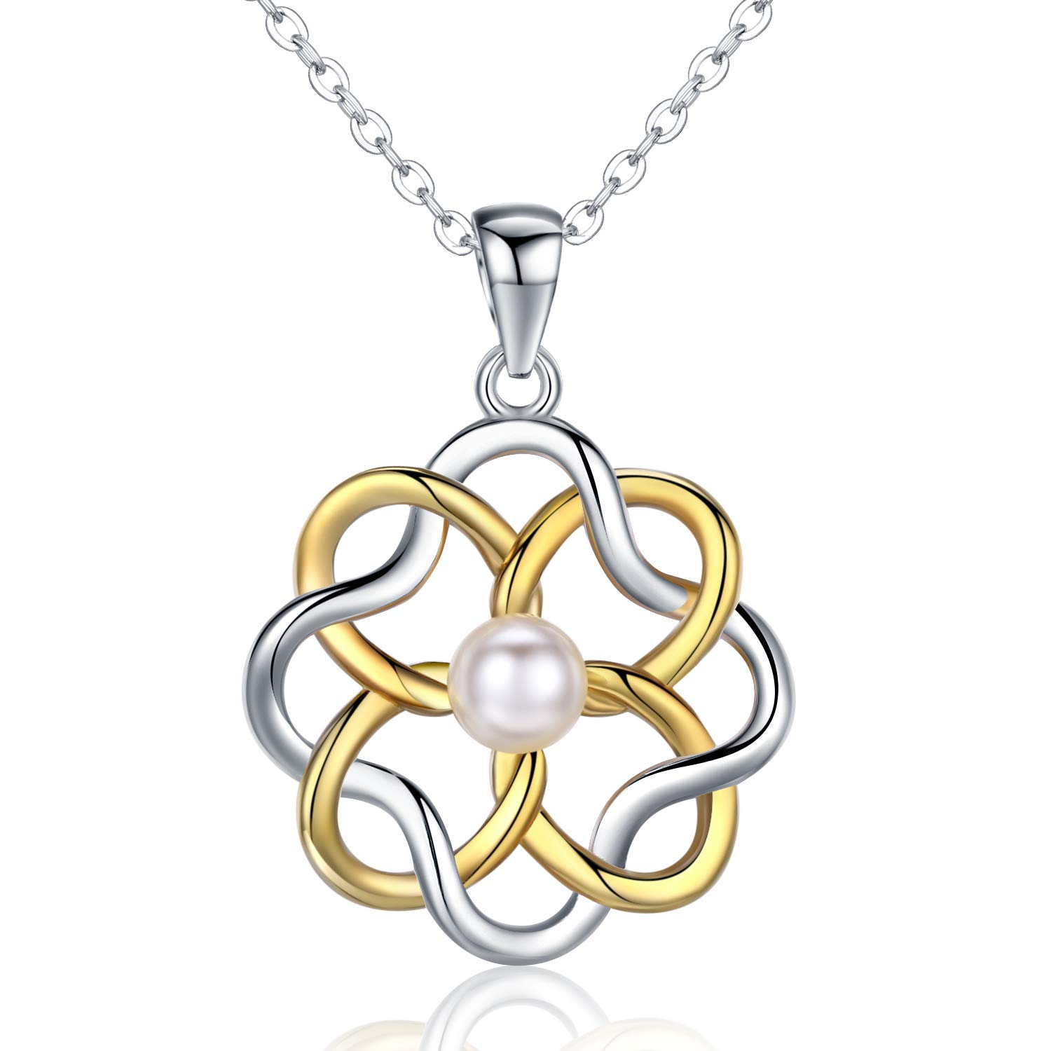 JUSTKIDSTOY Endless Love Pearl Irish Celtic Knot Necklace Gold Silver Knot Pendant Necklace for Women Girls Mom Girlfriend