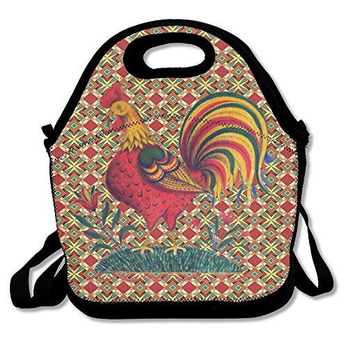 Ojinwangji Multicolored Rooster Lunch Bag Thermal Bags Outdoor Picnic Meal Package For Boys Girls Women Kids]()