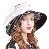 Kentucky Derby Dress Church Cloche Hat Sweet Cute Floral Bucket Hat (Veil-Black/White)