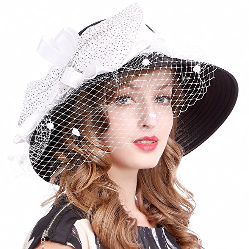 Kentucky Derby Dress Church Cloche Hat Sweet Cute Floral Bucket Hat (Veil-Black/White) (Kentucky Oaks Derby)