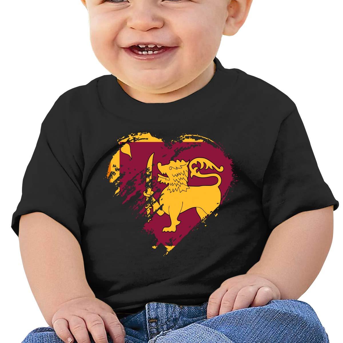I Love Sri Lanka Heart Flag Boy Girl Newborn Short Sleeve T-Shirt 6-24 Month Soft Tops