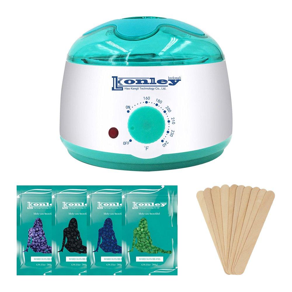 Wax Warmer, Hair Removal Waxing Kit, Electric Wax Heater with 4 Hard Wax Beans and 10 Wax Applicator Sticks, Depilatory Machine for Facial Skin, Body and Bikini Area for Women and Men