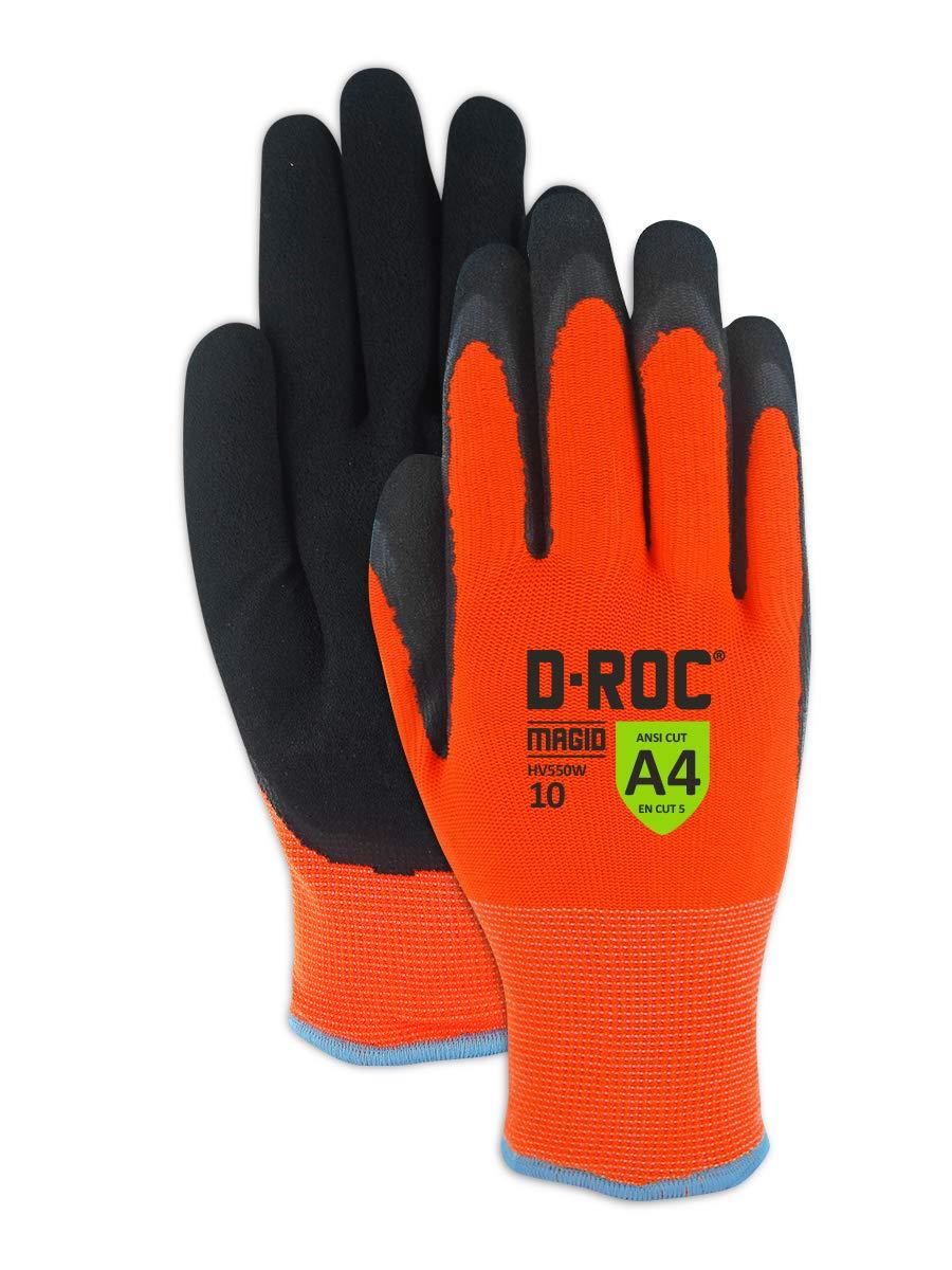 Magid Glove & Safety HV550W11 Waterproof Thermal Coated Work Gloves, 11/XX-Large, Black/Hi-Viz Orange, ANSI Cut Level A4