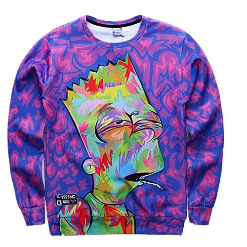 Cartoon New Shirt (FaPlus Autumn Fashion Hoodies Cartoon 3D Print Long Sleeve T-Shirt L)
