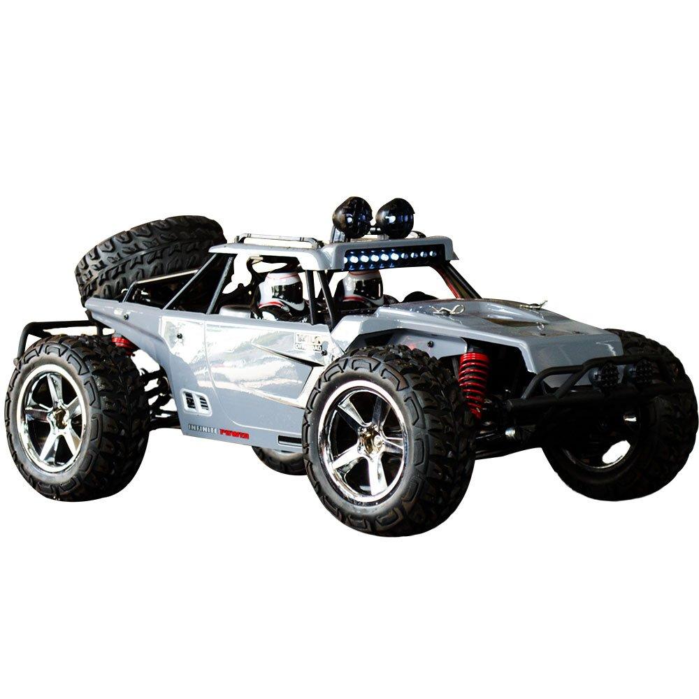 HUKOER voiture à télécommande pour les enfants - Rock Crawler voiture avec 1:12 pleine échelle 2.4GHz hors route à grande vitesse quatre roues motrices RC voiture (gris)