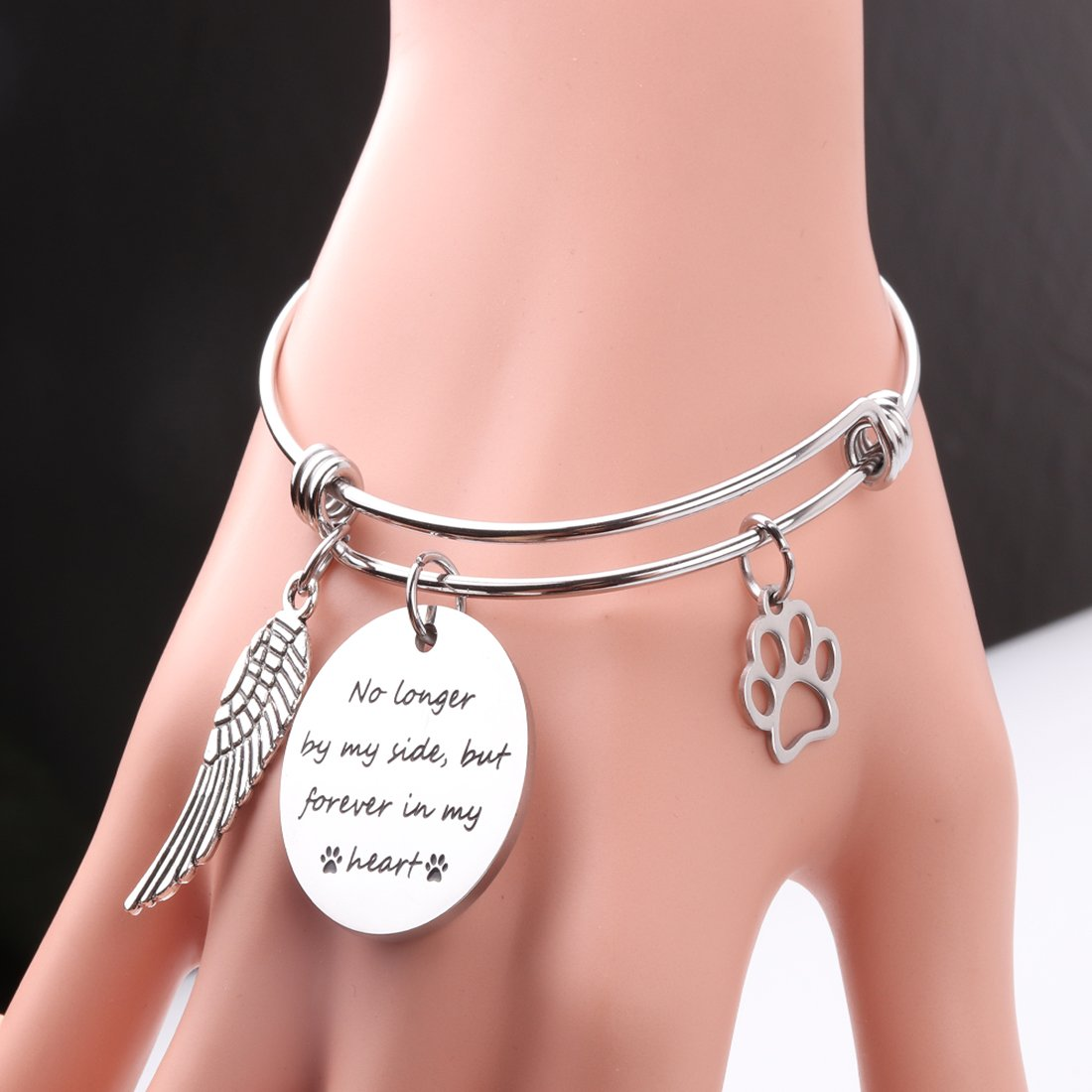 RUNXINTD Personalized Pet Memorial Bracelet Pet Memorial Gift No Longer by My Side but Forever in My Heart Gift for Pet Lover