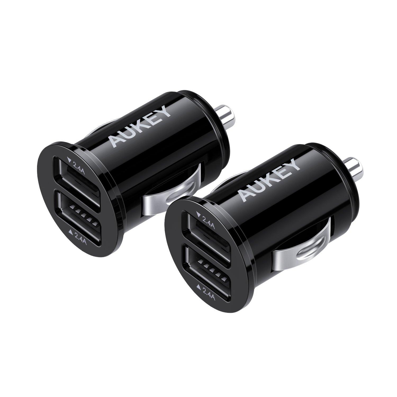 AUKEY Caricabatteria da Auto, Ultra Compatto, Dual Porta USB 4,8A / 24W (2 Pacchetti)
