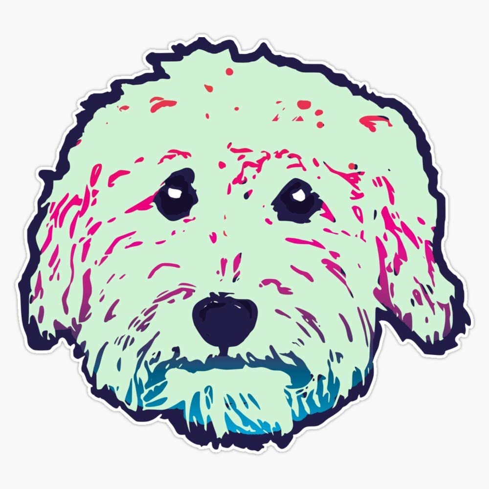 Goldendoodle! Labradoodle! Adorable Doodle Teddy Bear Dog - In Navy, Mint And Multi Colors Sticker Vinyl Waterproof Sticker Decal Car Laptop Wall Window Bumper Sticker 5""