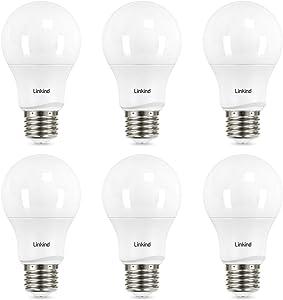 40 Watt Equivalent, Linkind A19 Dimmable LED Light Bulbs, E26 Base, 2700K Soft White, 5.7W 460 Lumens CRI80+ 120V, UL Listed FCC Certified, Energy Star, Pack of 6