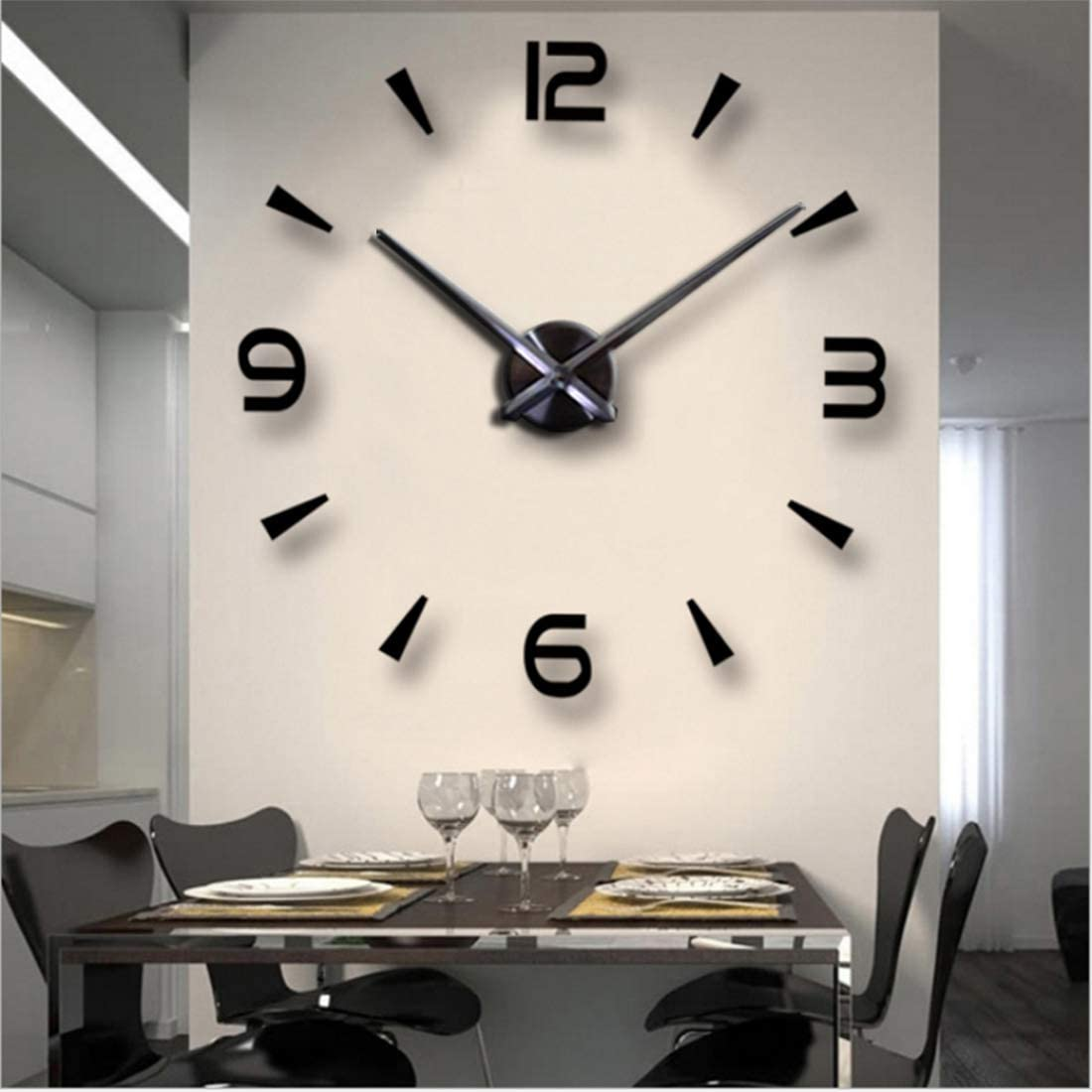 Fashion In The City 3d Diy Wall Clock Creative Design Mirror Surface Wall Decorative Sticker Watches Black Amazon Co Uk Kitchen Home
