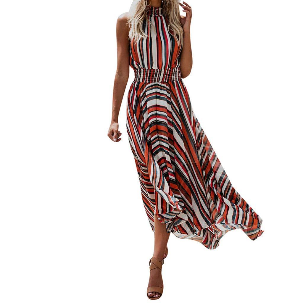 Botrong Striped Dresses for Women Sleeveless Slim Boho Beach Long Robe Asymmetrical Dress (Red,L)