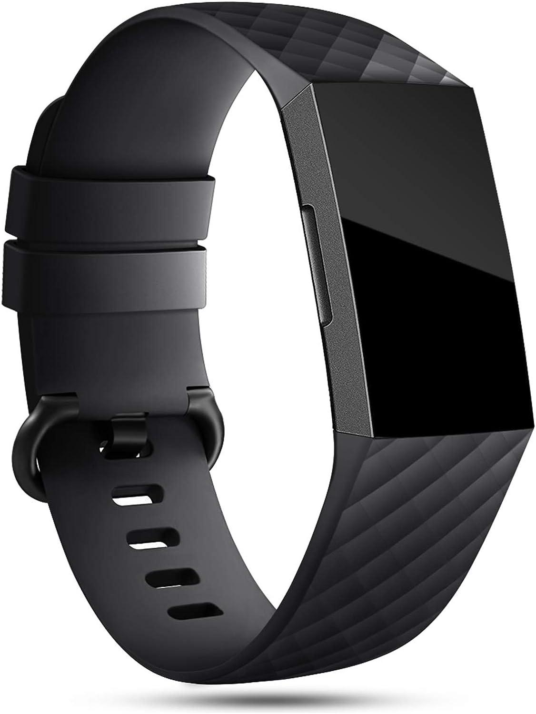 Onedream Correa Compatible para Fitbit Charge 3 Strap/Charge 4 Correa Mujer Hombre Pulsera Recambio Sport Band Negro (sin Reloj),L
