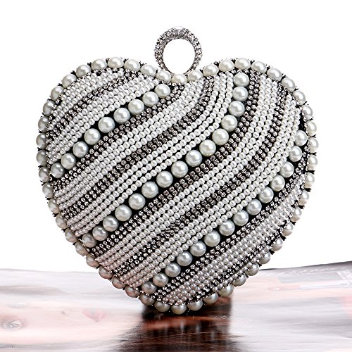 For Diamante shaped Prom Glitter Handbag Shoulder Party Clubs Bag Women Clutch Wedding Bag Bridal Gift Black Evening Beaded Heart Purse Ladies Wwqn7SIYz