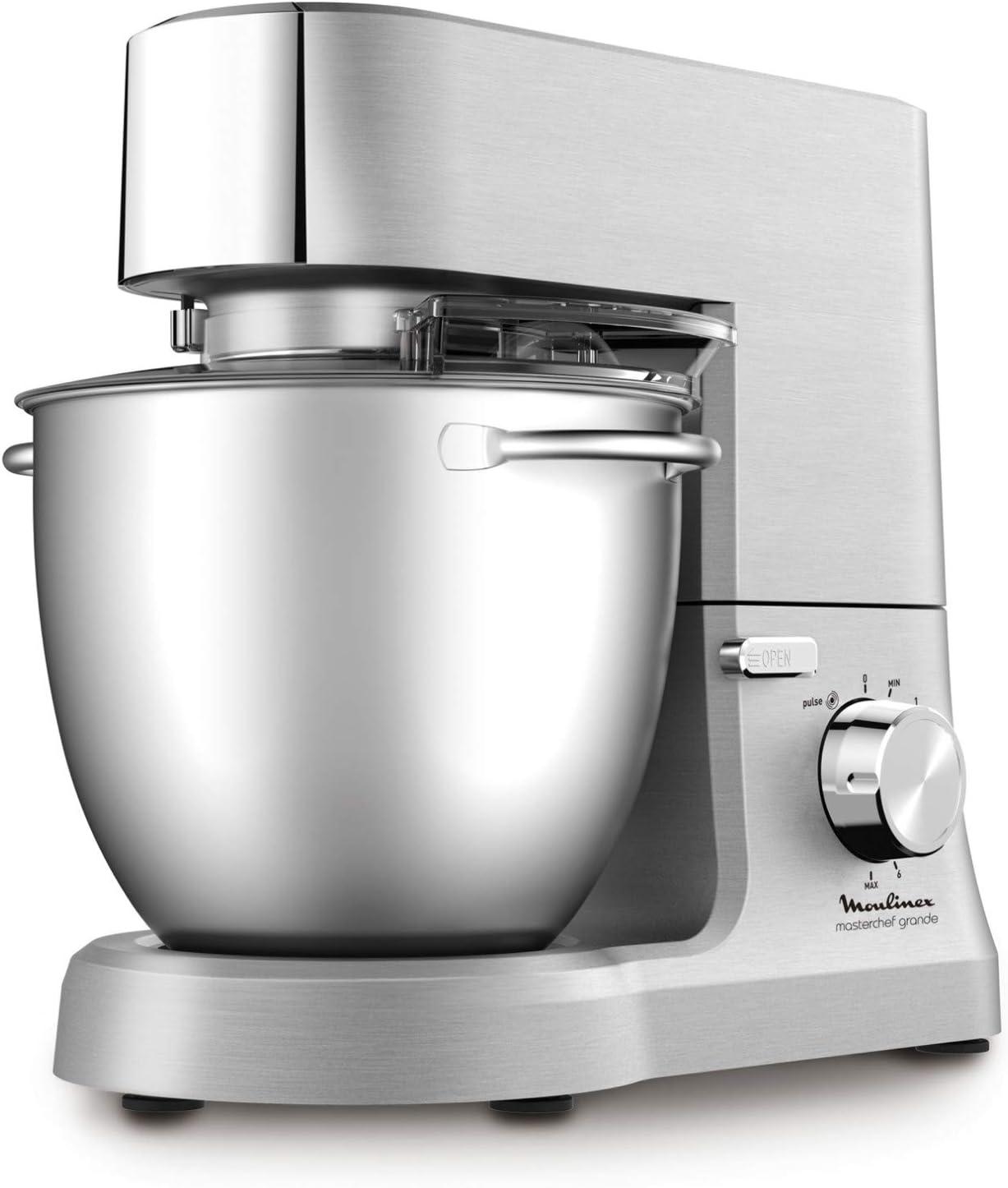 Moulinex Masterchef QA810D01 - Robot de cocina y repostería profesional 1500 W con kit de masas metálico, bol XL de 6,7 L, 4 posibilidades de accesoríos compatibles, de acero inoxidable
