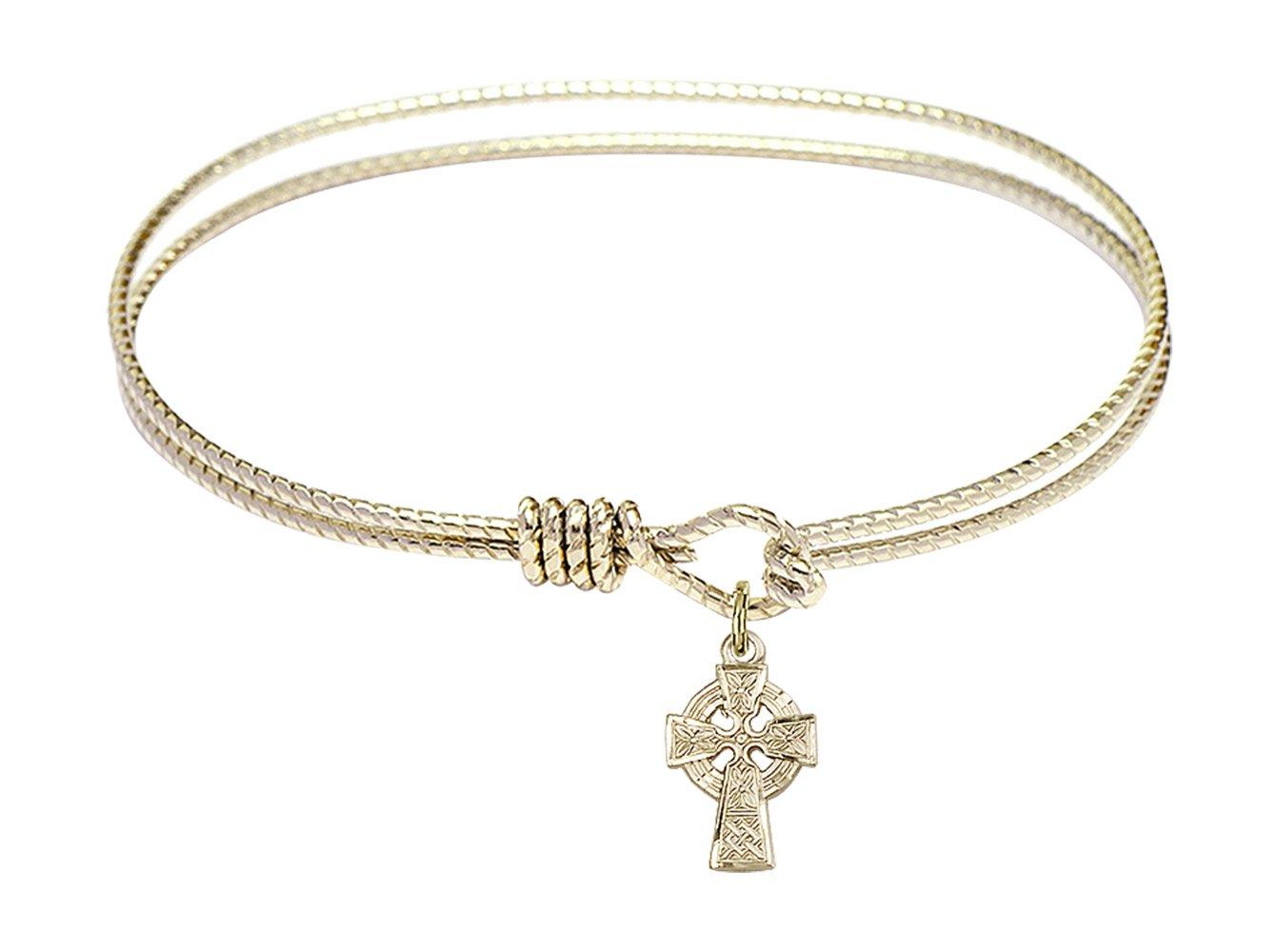 7 1/4 inch Oval Eye Hook Bangle Bracelet w/Celtic Cross in Gold-Filled