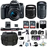 Canon EOS Rebel 77D Bundle With EF-S 18-55mm IS STM & EF-S 55-250mm Lenses + Canon 77D Camera Advanced Accessory Kit - Canon 77D Bundle Includes EVERYTHING You Need To Get Started