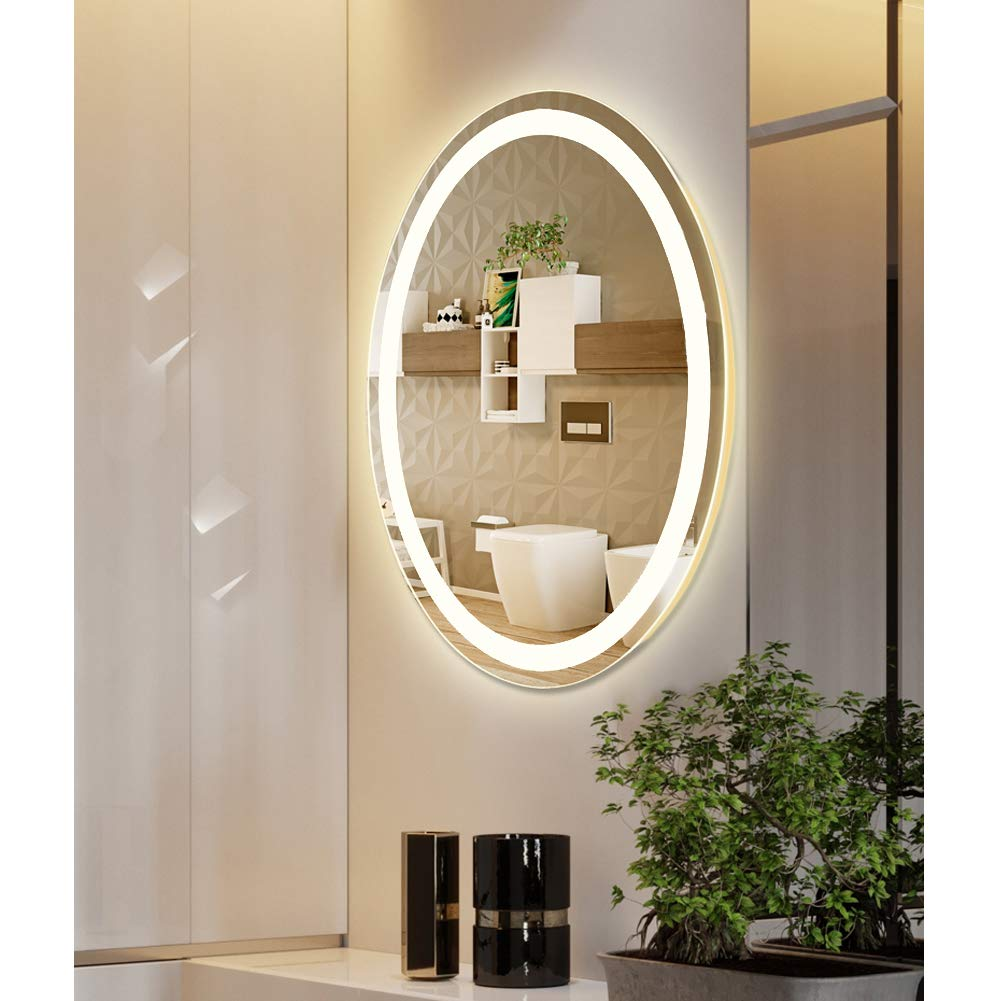 M LtMirror LED Lighted Oval Vanity Bathroom Makeup Mirrors Wall Mounted, Modern Anti-Fog IP66 Waterproof Vertical Installation Ultra-Thin 6000K Cool White (23 5/8''X 31 1/2'') by M LtMirror