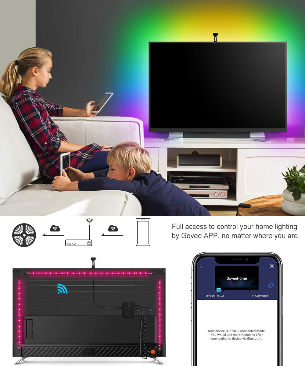 LED TV Backlights, Govee WiFi TV Backlights Kit with Camera, TV Led Strip Lights Compatible with Alexa, APP Control Music Led Strip Lights, TV Ambient Bias Lighting for 55''-80'' TV Calibrate on APP