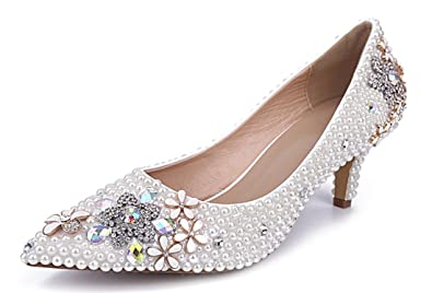 003f1012587e TDA Women s Pointed Toe Kitten Heel Flower Pearl White Patent Leather  Wedding Party Dress Pumps 5