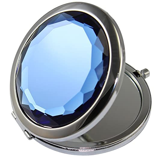 GuRun Double Sides Portable Foldable Pocket Makeup Compact Mirror Metal Ladies Round Crystal Make-up Mirror Cosmetic Mirror GR100 (Blue)