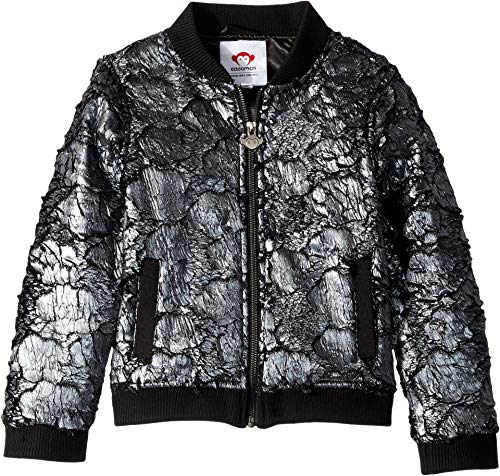 Appaman Kids Baby Girl's Extra Soft Nikki Bomber Jacket with Pockets (Toddler/Little Kids/Big Kids) Dark Silver 8 -
