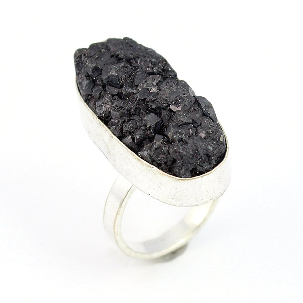 TITANIUM DRUSY FASHION JEWELRY .925 SILVER PLATED RING 10 S15653