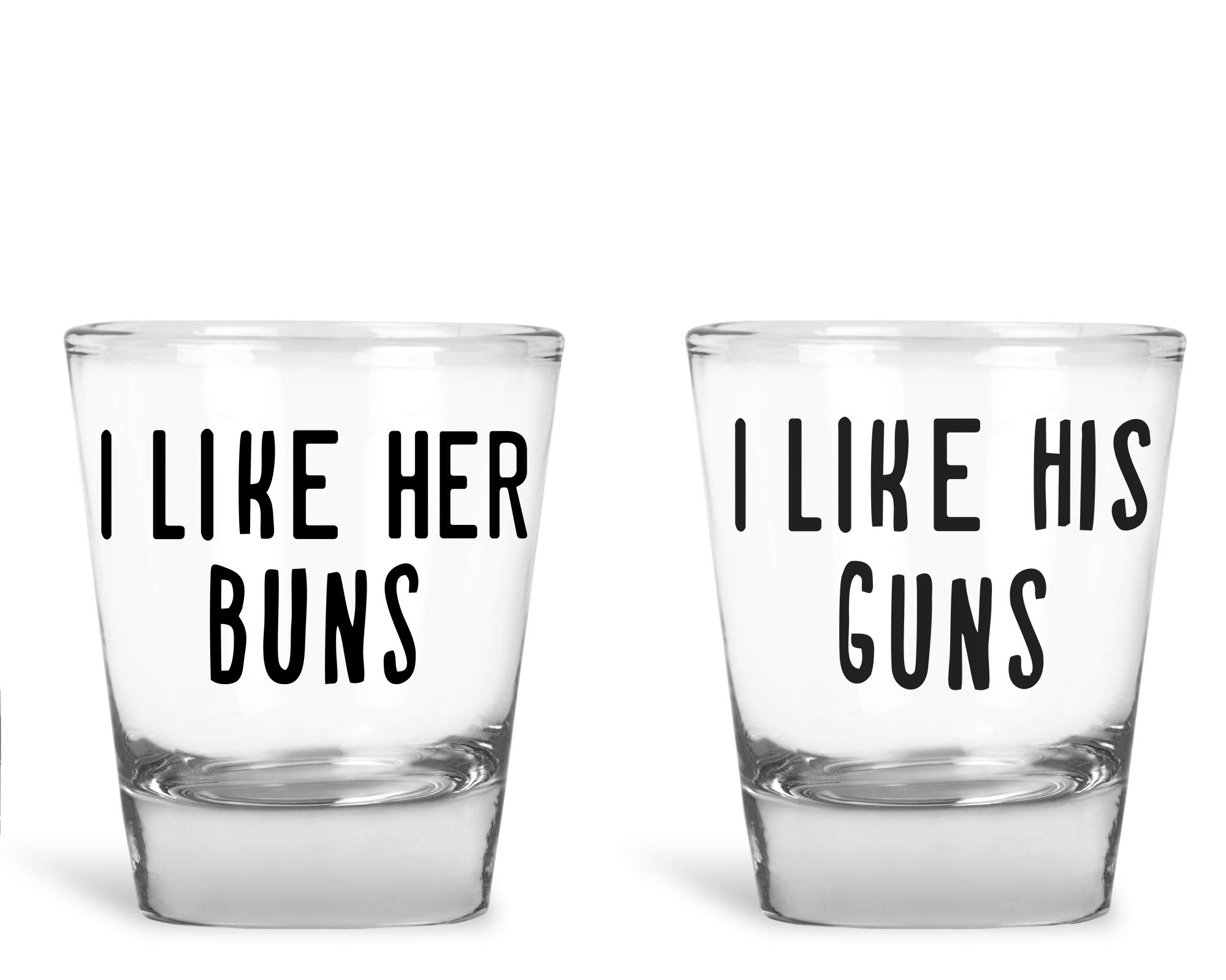 AW Fashions - I Like Her Buns, I Like His Guns - Wedding Gift For Newlyweds Couples - Funny Engagement Or Anniversary Present - 2 Pack Round Set of Shot Glass