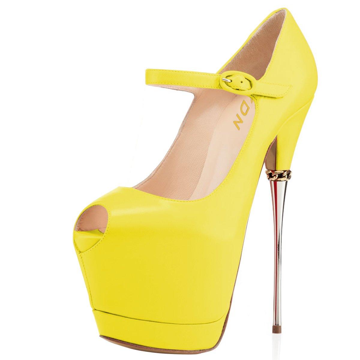 YDN Women Peep Toe Sky High Heels Platform Pumps Ankle Straps Shoes Metal Stilettos B07F1N35X4 14 M US|Yellow-pu