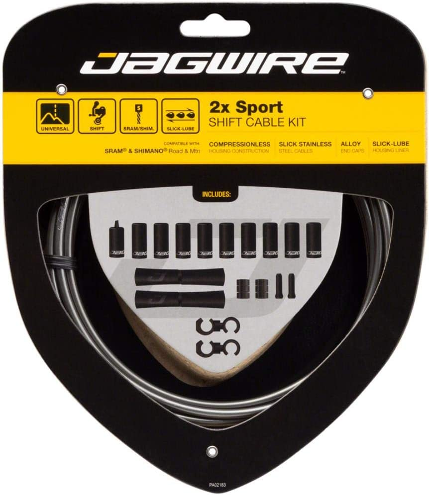 Jagwire 2X Sport Shift Adult Unisex Shift Cable and Sheath Kit, Grey, One Size