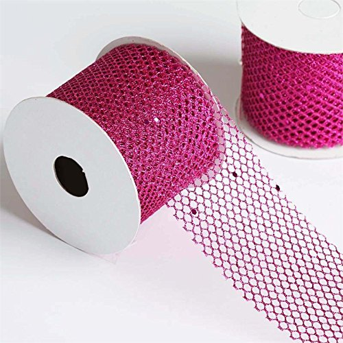 - Efavormart Glittery Hexagonal Mesh Ribbon for Gift Wrapping, Hair Bow Clips & Accessories Making Sewing -Fushia- 2.5 x 10 Yards