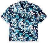 Cubavera Men's Tall Short Sleeve 100% Rayon Point-Collar Tropical Floral Print Shirt, Vice Blueprint, 2X-Large Big