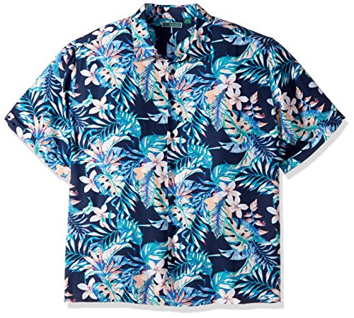 Cubavera Men's Tall Short Sleeve 100% Rayon Point-Collar Tropical Floral Print Shirt, Vice Blueprint, 2X-Large Big by Cubavera