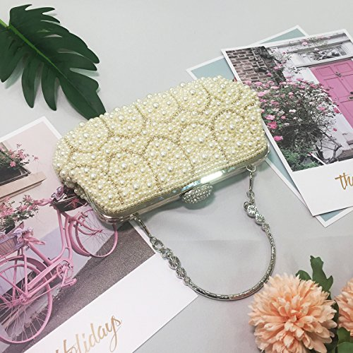 Handbags White Flada for Clutches Clutch Purse White for Handle Evening Weddings Women Pearl with rwrZq57C