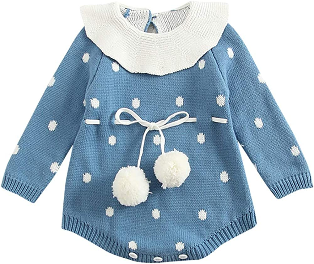 GuliriFei Baby Girls Autumn Winter Clothes Knitted Sweater Romper Button Long Sleeve Ruffle Winter Jumpsuit