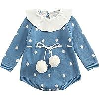 BeautyTop Baby Mädchen Stricken Outfit Baby Langarm Strampler Herbst und Winter Overall Kinderkleidung Cute Kleidungsset