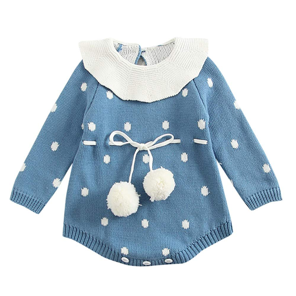 Baby Girls Sweater Romper Winter, Infant Newborn Baby Girl Dot Knit Bodysuit Crochet Clothes Outfits Leegor