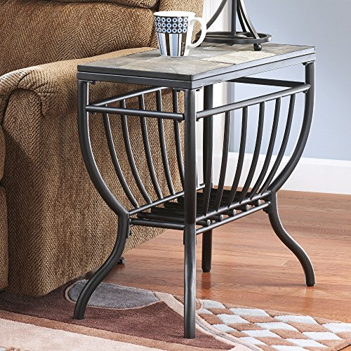 welded metal frame antigo gunmetal chair side end table with grilled styled lower shelf