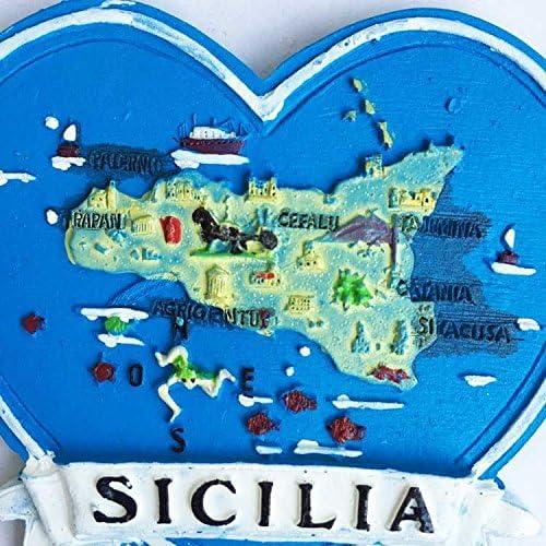 Sicile Italie Aimant de r/éfrig/érateur MUYU Magnet 3D Carte de Sicile Italie Souvenir Aimant de r/éfrig/érateur en Forme DE Coeur Cuisine Maison D/écoration Artisanat
