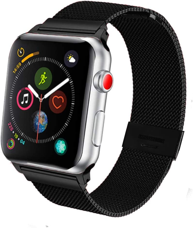 SPINYE Band Compatible for iWatch 38mm 42mm 40mm 44mm, Stainless Steel Metal Mesh Replacement Strap for Apple Watch Series 5 / 4 / 3 / 2 Women Men, if Applicable (42/44mm, Black)