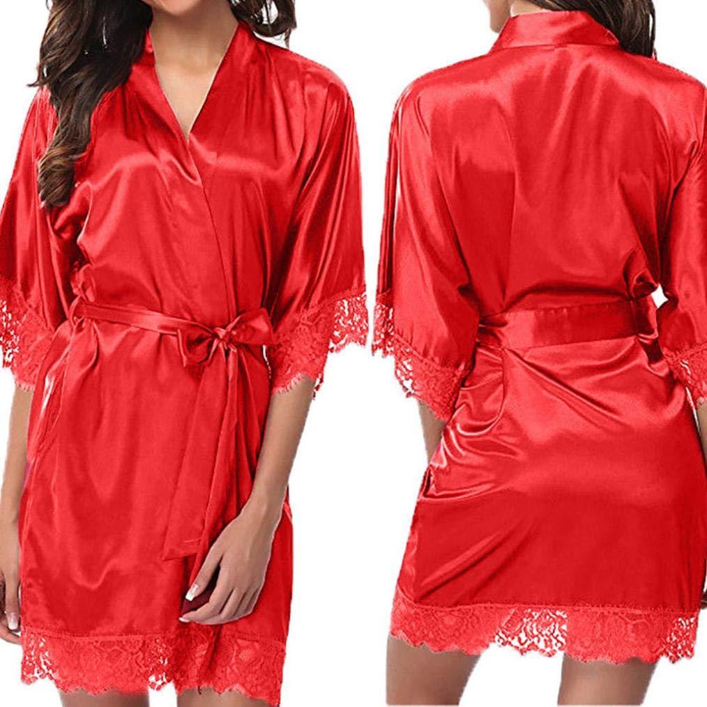 Viahwyt Womens Sexy Silk Kimono Sleepwear Plain Satin Lace Trim Dressing Gown with Oblique V-Neck Bathrobe + G-string Nightwear Pyjamas Soft Loungewear Negligee Luxury Underwear sets A78