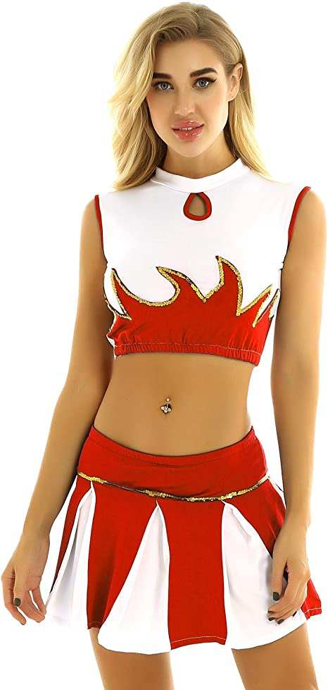 Agoky Disfraz de Animadora para Mujer Chaleco con Falda Plisada ...