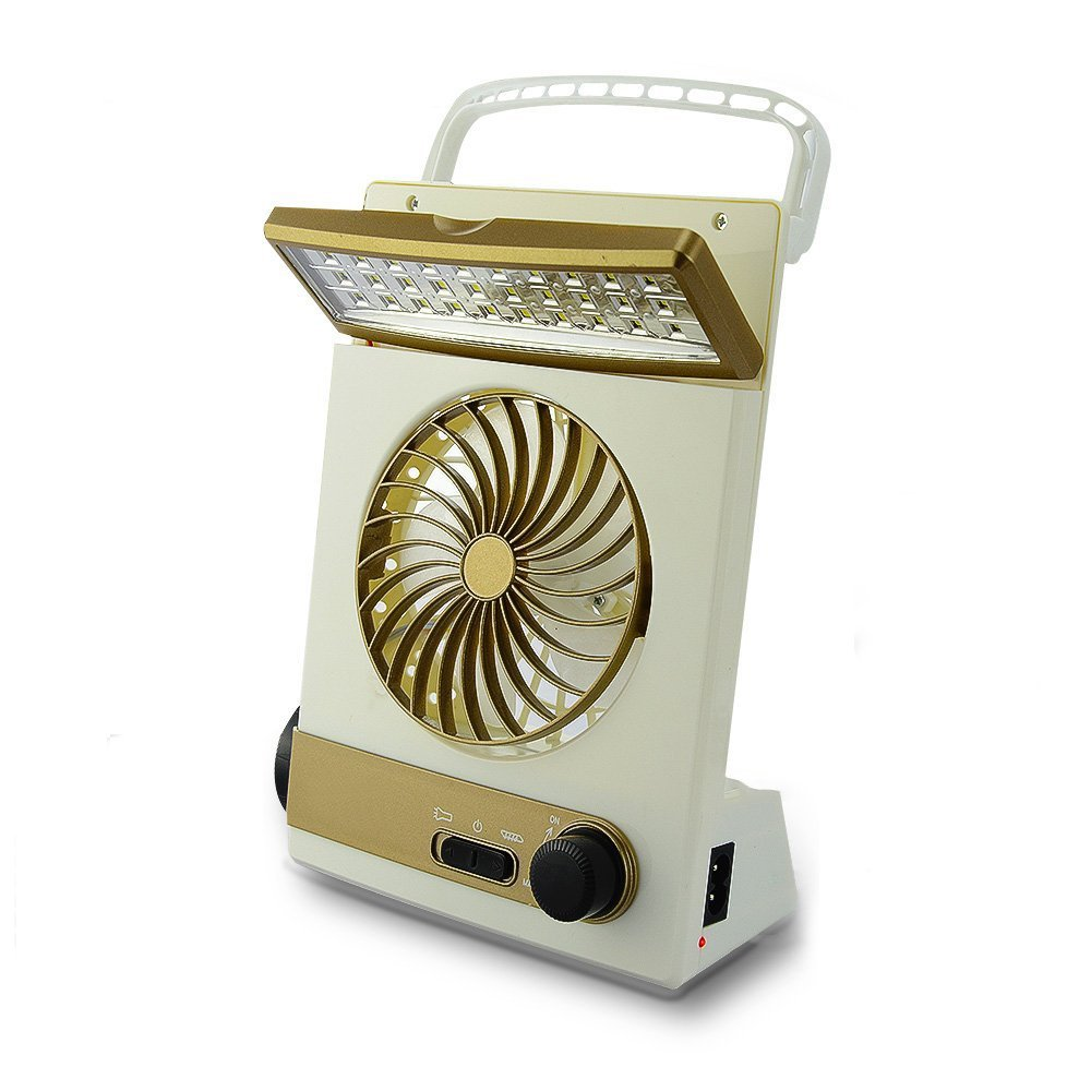 AVEKI Solar Powered 3 in 1 Multi-Function Portable Mini Fan,Portable Solar Charging Mini Fan LED Table Lamps Eye-Care Flashlight for Home Camping (Gold)